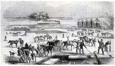 Picture Of Ice Harvesting In Massachusetts 1850s